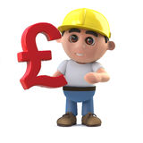 3d Cartoon construction worker holding a UK Pounds symbol. 3d render of a cartoon construction worker character holding a UK Pounds Sterling currency symbol stock illustration