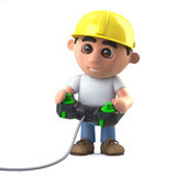 3d Cartoon construction worker plays a videogame Royalty Free Stock Image