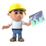 3d Cartoon construction worker uses a credit card Stock Photos