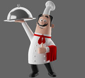 3d cartoon cook character Royalty Free Stock Images