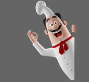 3d cartoon cook character Royalty Free Stock Photos