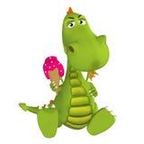 3d cartoon Dragon with ice cream Royalty Free Stock Image