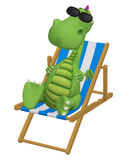 3d cartoon dragon relaxing in his beach chair Stock Photo