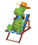 3d cartoon dragon smoking  in his beach chair Stock Photo