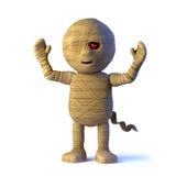 3d Cartoon Egyptian mummy monster cheers with joy Stock Image
