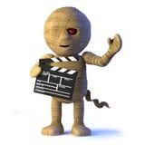 3d Cartoon Egyptian mummy monster makes a movie Stock Photography