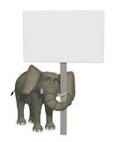 3d cartoon elephant with a blank sign. Illustration of a cute smiling elephant,  isolated on the white background Royalty Free Stock Image