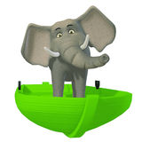 3d cartoon elephant in the boat Stock Photo