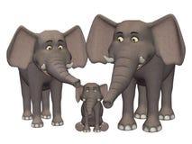 3d cartoon elephant family Stock Image