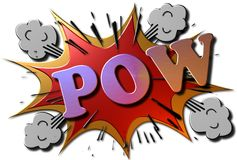"3D Cartoon Explosion. A red and gold metallic 3D rendered illustration of a cartoon explosion with the multi colored word ""POW"" in metal Stock Photography"