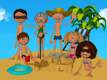 3d cartoon family on the beach Royalty Free Stock Photos