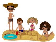 3d cartoon family on the beach Royalty Free Stock Image