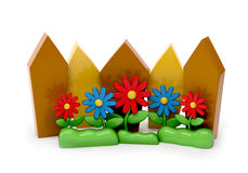 3d cartoon fence with garden flowers Royalty Free Stock Photo
