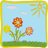 3d cartoon floral greeting childish card Royalty Free Stock Images