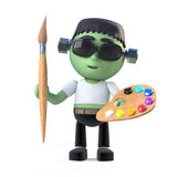 3d Cartoon frankenstein monster character with paintbrush and palette Stock Photo