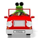 3D cartoon frog and a car Stock Photos