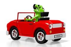 3D cartoon frog and a car Royalty Free Stock Photos