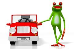 3D cartoon frog and a car Royalty Free Stock Image