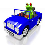 3D cartoon frog and a car Stock Photos