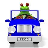 3D cartoon frog and a car Stock Photo