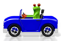 3D cartoon frog and a car. Great for topics like driving, transporation etc Stock Images