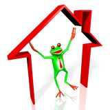 3D cartoon frog - house concept Royalty Free Stock Image