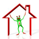 3D cartoon frog - house concept Royalty Free Stock Photography