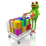 3D cartoon frog, presents Royalty Free Stock Photos