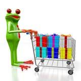 3D cartoon frog, presents Stock Image