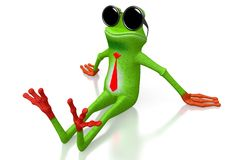 3D cartoon frog with sunglasses Royalty Free Stock Photos