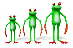 3D cartoon frogs - dimensions concept Royalty Free Stock Image