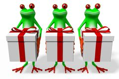 3D cartoon frogs and gift boxes Stock Photo