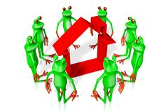 3D cartoon frogs - house concept Stock Photography