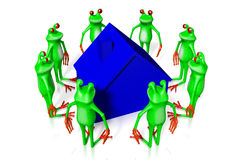 3D cartoon frogs - house concept Stock Photos