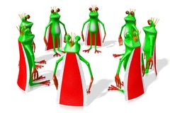 3D cartoon frogs - monarchy concept Royalty Free Stock Photography