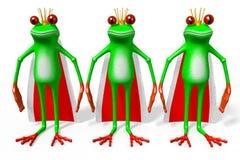 3D cartoon frogs - monarchy concept Royalty Free Stock Photos