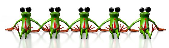 3D cartoon frogs with sunglasses Royalty Free Stock Image