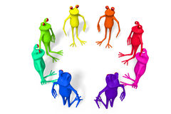 3D cartoon frogs - team concept Royalty Free Stock Photos