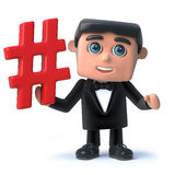 3d Cartoon gentleman in bow tie and tuxedo holding a hash tag symbol. 3d render of a funny cartoon gentleman in bow tie and tuxedo holding a hash tag symbol Royalty Free Stock Photo