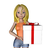 3d cartoon girl and giftbox Stock Photos