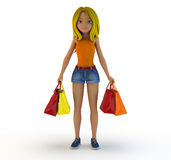 3d cartoon girl and shopping bag Royalty Free Stock Image
