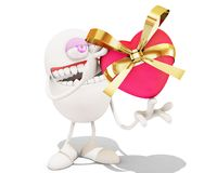 3d cartoon giving a present. 3d rendering Royalty Free Stock Image