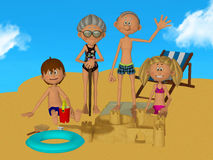 3d cartoon grandparents with kids on the beach Royalty Free Stock Photos