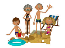 3d cartoon grandparents with kids on the beach. Illustration of the happy family, isolated on the white background Royalty Free Stock Photo