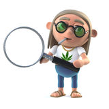 3d Cartoon hippie stoner has a magnifying glass Royalty Free Stock Photos