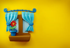 3d Cartoon Home Window on bright yellow Background Stock Photography