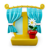 3d Cartoon Home Window  on White Background Stock Images