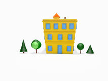 3D cartoon house and trees. 3D rendered cartoon house and trees on white background Stock Photo
