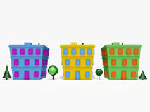 3D cartoon houses and trees. 3D rendered cartoon houses and trees on white background Royalty Free Stock Images