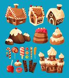 3D cartoon icons of sweets for game design. 3D cartoon icons of sweets gingerbread houses, cake castles, chocolate, various lollipops to create your own graphic Royalty Free Stock Image
